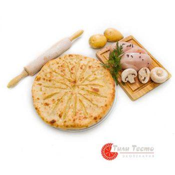 Пирог с курицей, грибами и картофелем