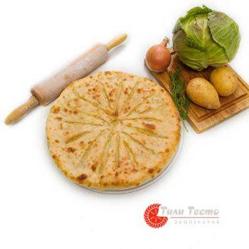 Пирог с картофелем, капустой и луком